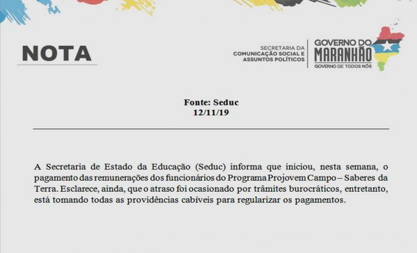 SEDUC - Nota de Esclarecimento aos Servidores do Projovem Campo