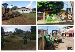 Prefeitura avança com serviços de limpeza em toda a cidade