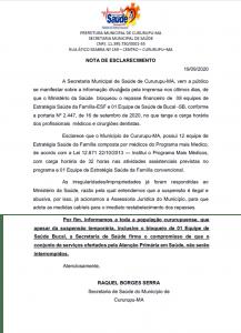 NOTA DE ESCLARECIMENTO SECRETARIA DE SAUDE -19-09-2020