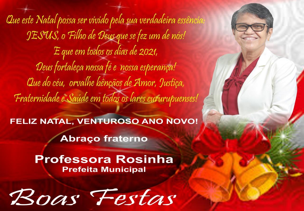 Mensagem da Prefeita Professora Rosinha