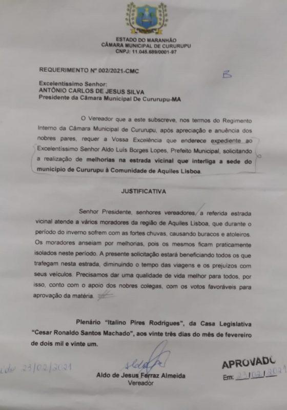 Requerimento Nº 002-2021-CMC - Vereadores Aldo Ferraz - PP