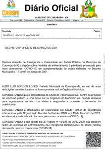 DECRETO Nº 25 DE 20 DE MARÇO DE 2021.