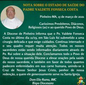 Padre Valdete Costa estado de saúde