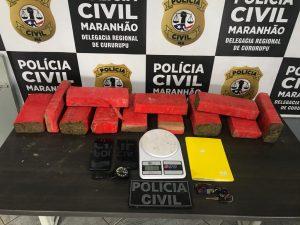 Em Cururupu, a Polícia Civil do Maranhão prende em flagrante duas pessoas por tráfico de drogas.