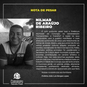Prefeitura de Cururupu divulga nota de pesar e decreta luto oficial pelo falecimento de Nilmar de Araújo Ribeiro.
