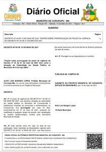 Prefeitura de Cururupu prorroga decreto por mais 16 dias. Infratores poderão ser multados em até 10 mil.