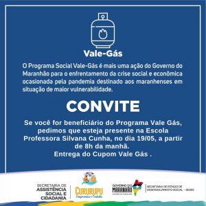 Prefeitura de Cururupu e Secretaria de Assistência Social entregarão cupom do Vale-Gás nesta quarta-feira 19.